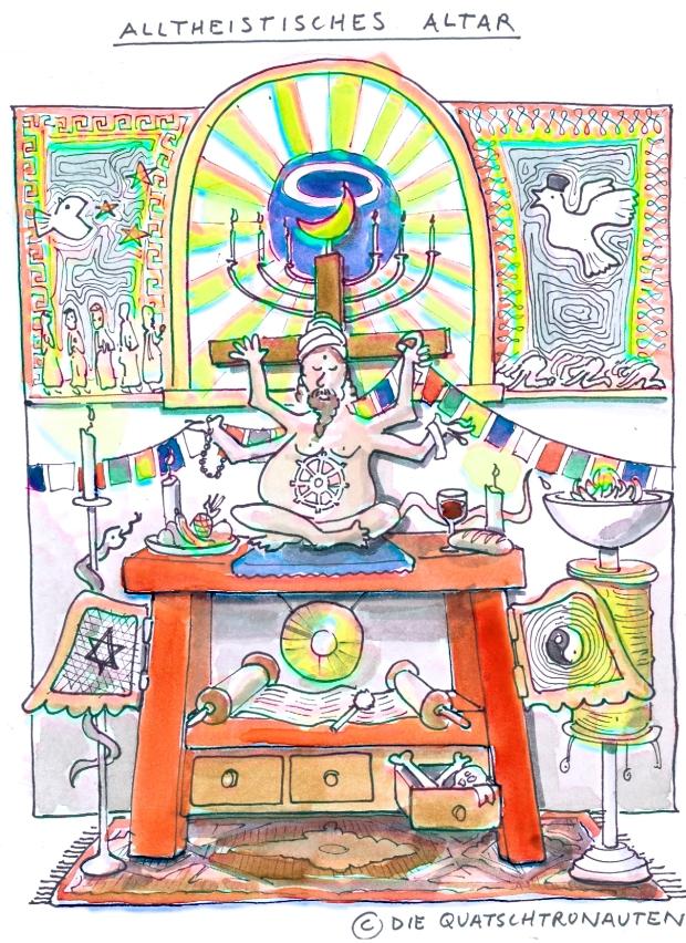 Alltheistisches Alltar mit Symbolen und Götter aus dem Christentum, Islam, Hinduismus, Buddhismus und Judentum. Cartoon